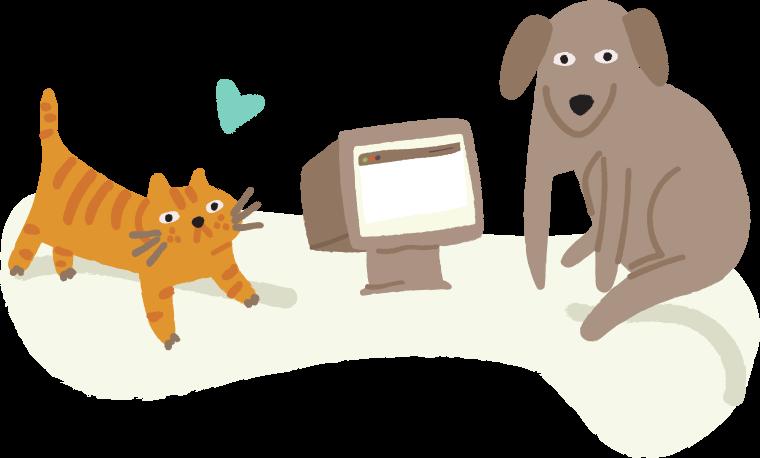 кошка и собака с компьютером