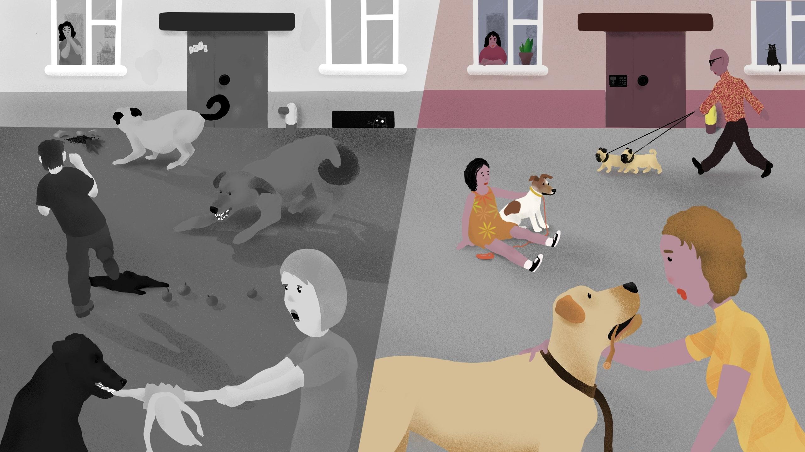 Рисунок, изображающий людей и животных